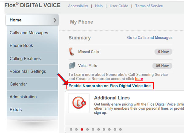 Click Enable Nomorobo On Fios Digital Voice Line